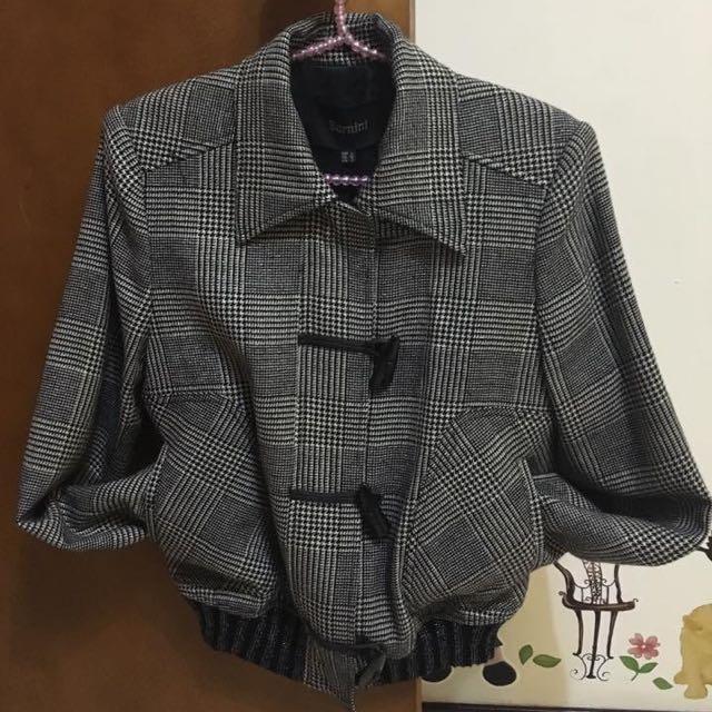 【商品名稱】貝爾尼斯副牌Bernini貝爾尼尼千鳥紋羊毛外套S-L號