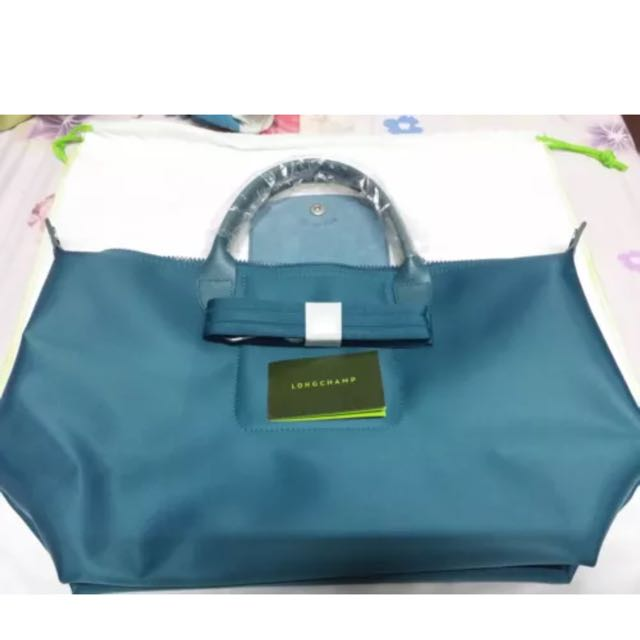 Brand New And Authentic Longchamp Le Pliage Neo Teal Blue Medium Size,  Luxury on Carousell ef253133fc