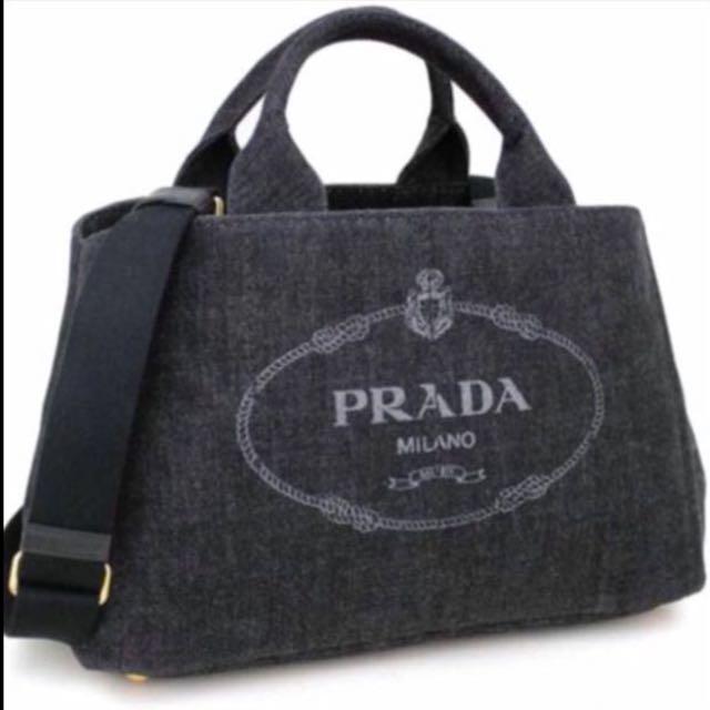 Fire Sale  Brand New PRADA Black Denim Canapa Tote Bag (big size ... dd9c15dfcb4a5