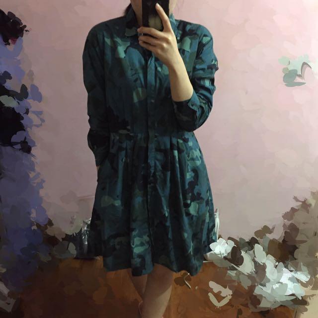 GAP 女款 藍綠色 迷彩 連身洋裝 4號
