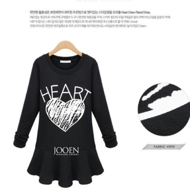 HEART 黑色短洋裝