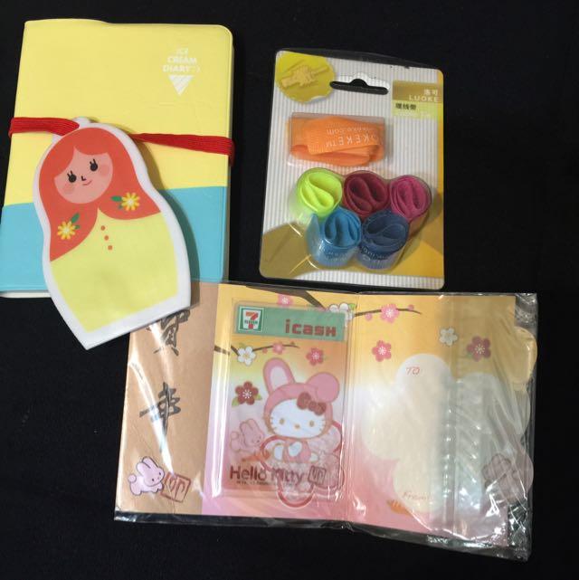 俄羅斯娃娃筆記本+綁線帶+Hello Kitty兔年限定版i Cash 悠遊卡