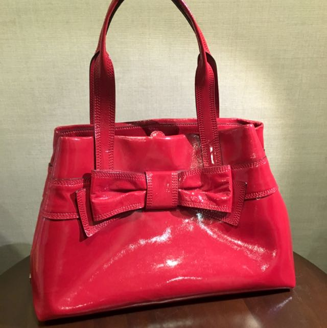 Brand New Kate Spade Red Patent Leather Tote Bag With Ribbon Women S Fashion On Carou