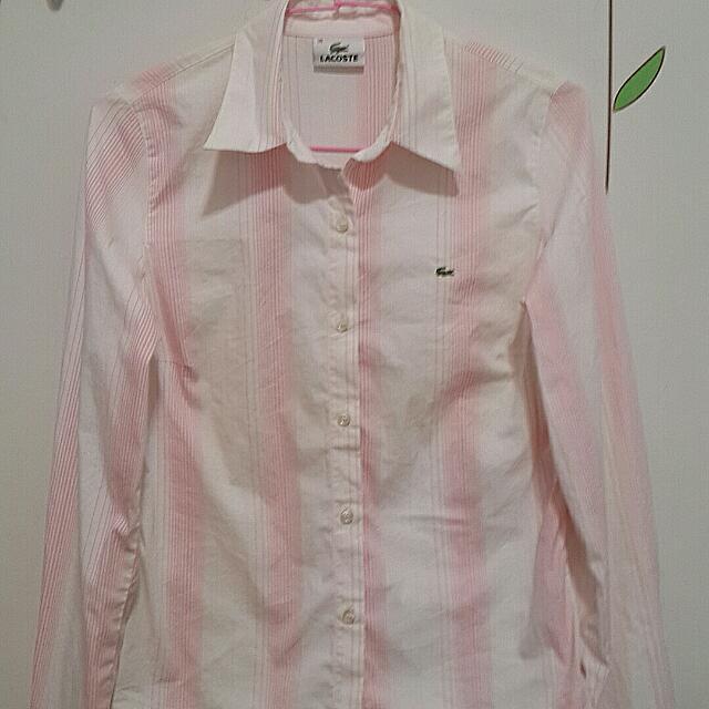 LACOSTE 粉紅條紋襯衫