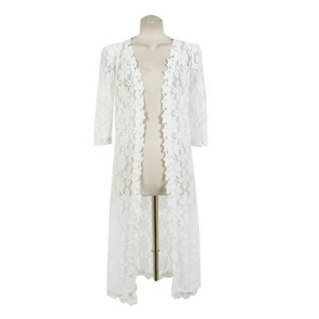 Long Cardigan #white