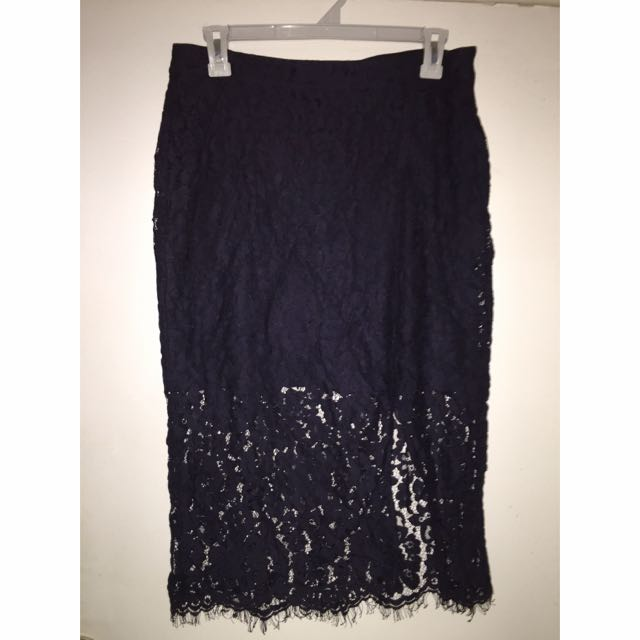 Navy Blue Lace Midi Skirt