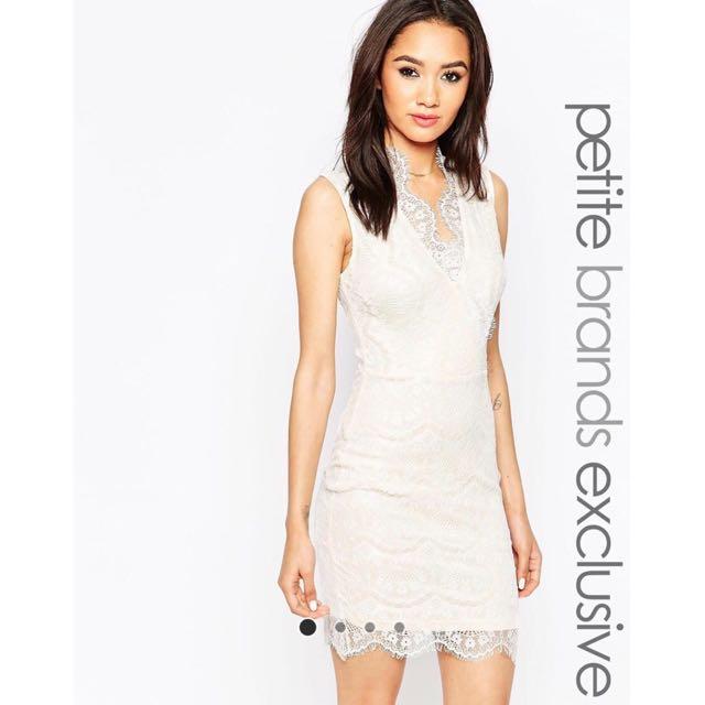 161295fa966 NEW ASOS UK6 Lipstick Boutique Petite Eyelash Lace Bodycon Dress ...