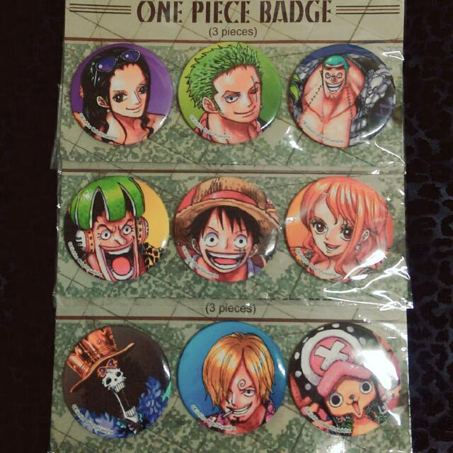 One Piece 海賊王 航海王 魯夫 索隆 香吉士 胸章 別針 65mm