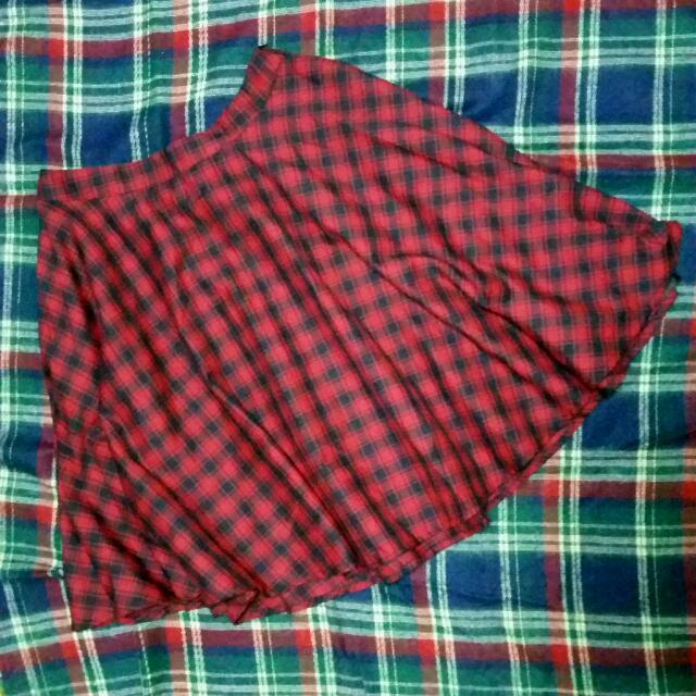 PAZZO 紅色格紋中裙