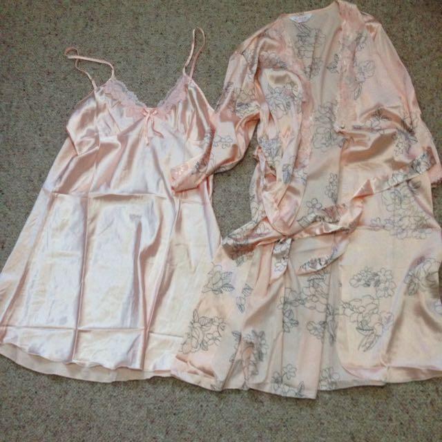 Peach Colour Elegant Pyjama Dress