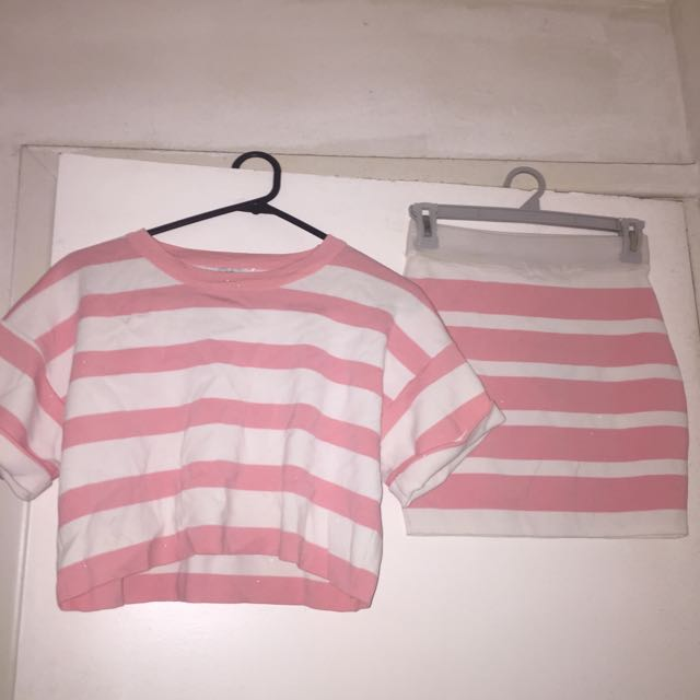 Pink And White Stripe Matching Set