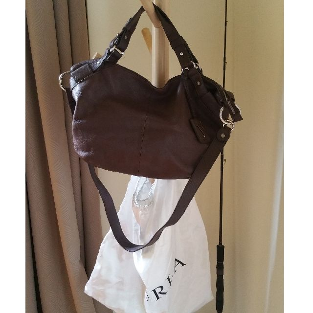 Pre-loved Genuine Furla brown leather tote with long strap