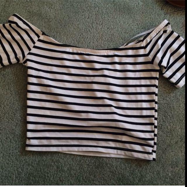 Right Stripy Crop Top