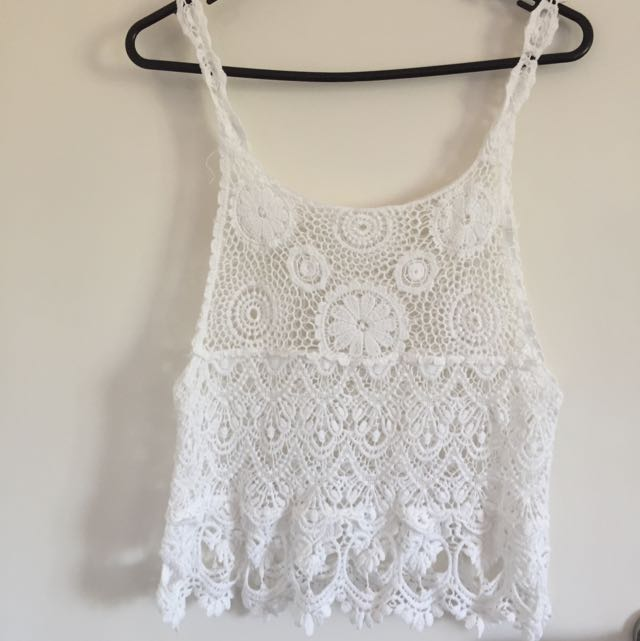 Romantic White Knit Top Size S