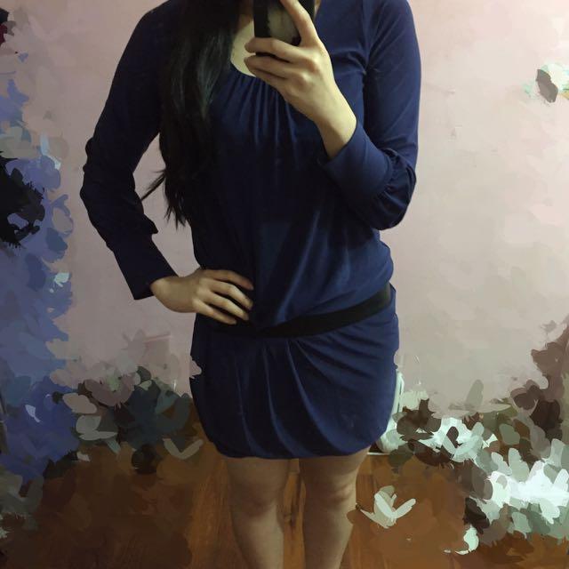Sen 深藍色 拼接材質 連身洋裝