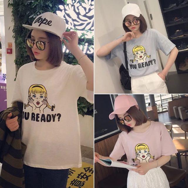 韓國百搭簡約女生印花休閒寬鬆短袖上衣T桖3色