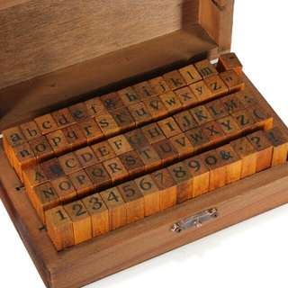 70pcs Uppercase/Lowercase/Numbers Woden&Rubber Stamp Set