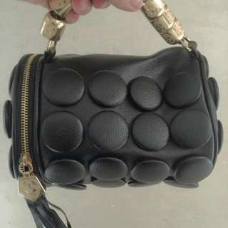 Quirky Leather Black Dot Purse