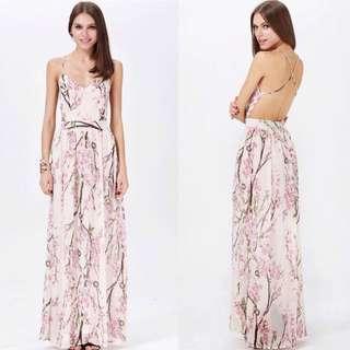 💃🏻READY STOCKS ~ Brand New SHEINSIDE Sexy Floral Bareback Long Flowy Chiffon Dress💃🏻