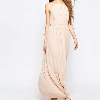ASOS | Tiered Maxi Dress - Nude / UK 6