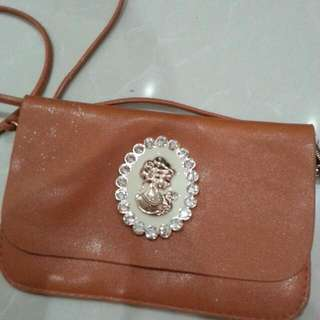 Sling Faux Leather Sparkly Diamon Brown Bag