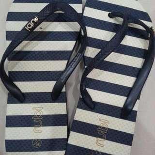 Rubi Sandals Navy And White Stripes