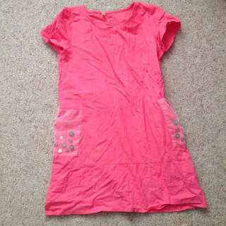 Red Linen Dress Size M To L