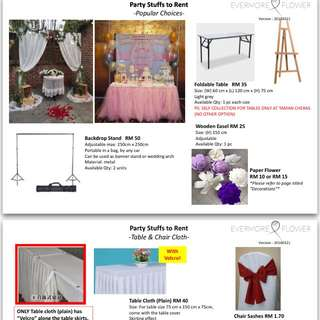 Party Stuffs For Rent (Backdrop Stand, Table, Candy Bar Jar, Cake Stand, Macaroons Stand, Decoration)