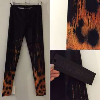 Pulp Kitchen Dangerfield Black Milk Inspired Tiger Ombre Shiny Leggings Spandex Tights Size 6 XS