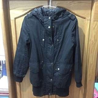 黑色超保暖長版外套