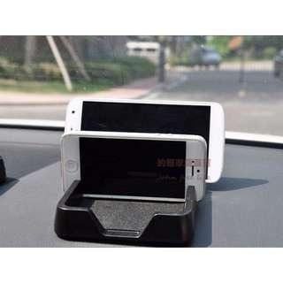 約翰家庭百貨》【Q313】汽車雙卡槽多功能手機架 手機座 防滑儀錶板置物盒 中控台架 平板置物架 雜物置物盤