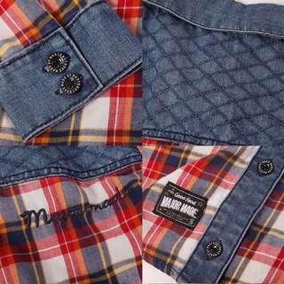 💜現貨💜Major Made MJR 牛仔拼接格紋兩穿刺繡襯衫