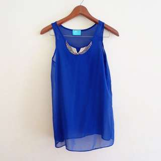 Blue Sleeveless Blouse/Top