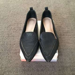 Real Leather Seed Pointed Flat Loafers