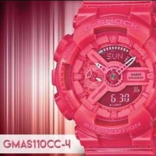 Casio Gshock GMAS110CC- 糖果粉紅