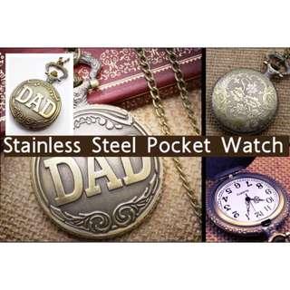 Antique DAD Pocket Watch Pendant Bronze Mens With Black Pouch