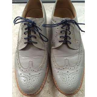 Singha Live Light Grey Leather Brogue Dress Shoes (Size Men's EU 38)