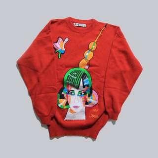 紅色刺繡毛衣