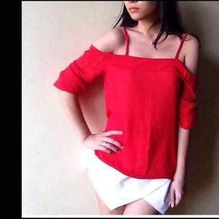 red chiffon shoulder top