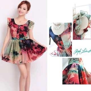 👒READY STOCKS ~ Brand New Korean Design Romantic Floral Chiffon Ruffles Short Flare Dress👒