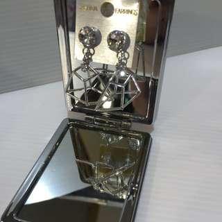 韓國製 幾何圖形 微立體 水鑽耳環