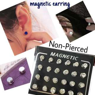 (Non Pierced) Magnetic Earring Crystal Diamond (Silver White)
