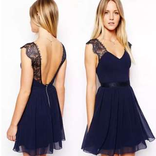 🌾READY STOCKS ~ Brand New Chiffon Lace Midnight Blue Flare Dress🌾