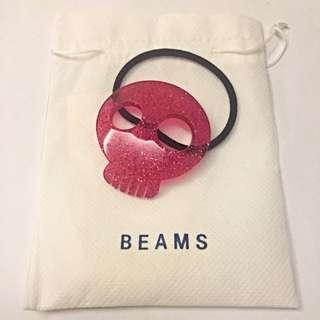BEAMS粉紅色骷髏頭髮圈