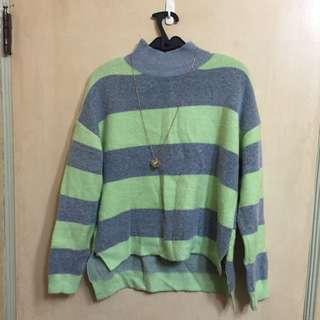 (預訂)正韓條紋高領毛衣