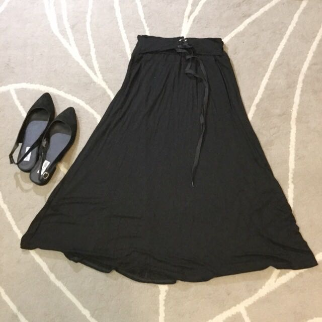 (已售出)黑色彈性棉長裙