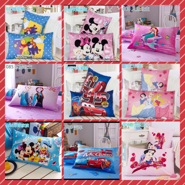 迪士尼卡通純棉枕頭套~