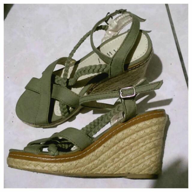 交叉麻花編織草鞋涼鞋楔形鞋