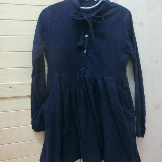 質感深藍蝴蝶結洋裝