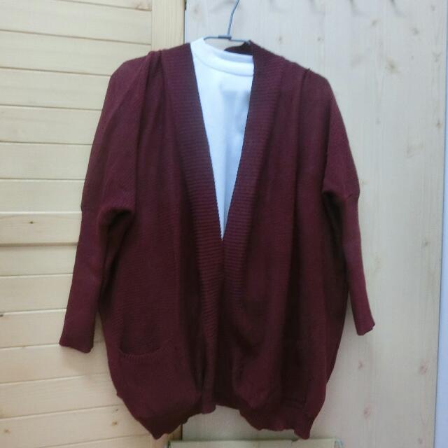 帕菲 酒紅針織外套